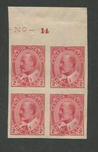 1903 Canada Postage Stamp #90A Mint Never Hinged Very Fine Imperf Block of 4