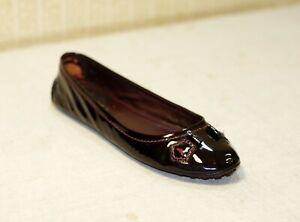 800$ LOUIS VUITTON burgundy patent leather moccasins shoes ballet flats 40 us9
