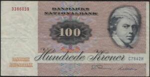Danmark 100 Korner Banknote 1972