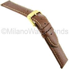 20mm Speidel Stitched Sport Calf Genuine Leather Brown Mens Watch Band XL