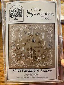 J Is For Jack-O-Lantern Cross Stitch Kit Sweetheart Tree Retired 28 Linen Box