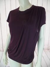 ROBERT RODRIGUEZ Top M Brown Pullover Modal Knit Asymmetrical Drape COMFY CHIC!