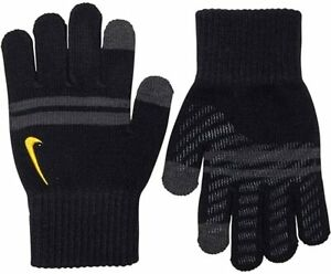 Nike Junior Boys Warm Winter Knit Grip Youth Gloves Touch Screen Black Grey Gold