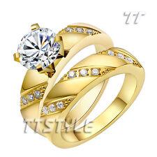 TT 14K GP Polished Stainless Steel 2 Ct Engagement Wedding Band Ring Set