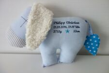 Geburtskissen Esel Kuscheltier blau Sternchen mit Wunschname wählbar
