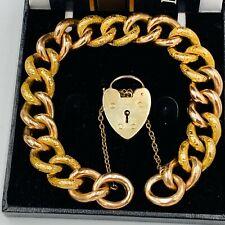 Vintage 9ct Gold 12mm Engraved & Plain Curb Link Charm Bracelet 24.2g #825