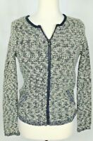 Ann Taylor Loft Cardigan Sweater Sz S Gray Boucle Knit Zip Front Pockets NWT