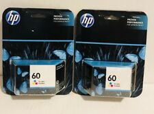 New HP 60 Tri-Color Genuine Ink Cartridge - Lot of 2
