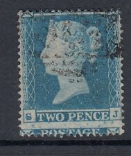 GB 1854-57 VICTORIAN 2d Pence BLUE Stamp SMALL CROWN Perf 16 SG20- used-misperf