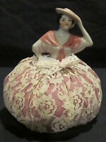 Vintage Porcelain Pin Cushion Half Doll with Pink Dress