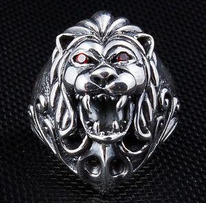 GARNET LION LORD .925 STERLING SILVER RING NEW GOTHIC BIKER RED EYES ROCKER PUNK