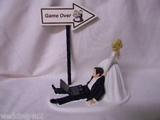 Wedding  Party ~Laptop Computer~ Geek Nerd Video Game Game Over Sign Cake Topper