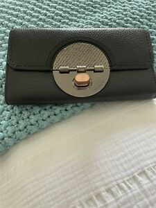 Mimco Black Gun Metal & Rose Gold Turnlock Leather Ladies Wallet