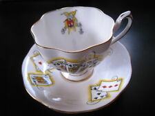 VINTAGE LADY LUCK JOKER CARDS JESTER QUEEN ANN  TEACUP AND SAUCER EUC