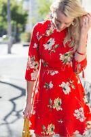 Topshop Paint Floral Frill Tea Dress - Red - UK10/EU38/US6