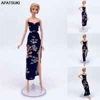 Floral Evening Party Dress for Barbie Doll Outfits Clothes V Neck 1/6 BJD Dolls