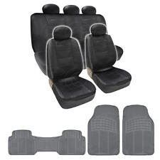Complete Set Black PU Leather Seat Covers & Black 3 Piece PVC Mats BDK design