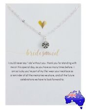Silver BRIDESMAID Wedding Inspirational Message Crystal Pendant Necklace Gift
