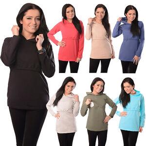 New Discreet Soft Nursing Breastfeeding Hoodie Top Size 8 10 12 14 16 18 - 9051