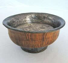 "Rare 4.4"" Antique Tibetan Jha Phor / Tsampa Wood Tea Bowl or Cup w/ Metal Liner"
