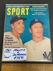 1961 SEPT *SPORT* MAGAZINE *MICKEY MANTLE & DIMAGGIO* COVER NEWSSTAND (MS) 91021