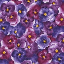 "1 Thin Quarter 10"" x 44""  Viola Flower Print Fabric - C4465 - 100% cotton"