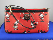 Dooney & Bourke Red Black Retro Mickey Mouse Minnie Slim Wristlet W15DR1111 $98