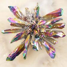Y03918 Rainbow Titanium Crystal Agate Druzy Quartz Geode CAB CABOCHON 90x82x37mm