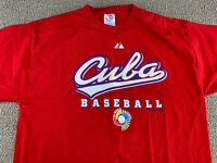 2006 World Baseball Classic Cuba Shirt Red L Majestic jersey jacket hat