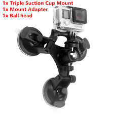 Car Triple Low Angle Suction Mount Holder Ball head for Nikon Gopro 2 3+4 Camera