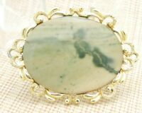 Peach Cream Green Agate Stone Gold Tone Pin Brooch Vintage Large