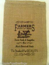 "Natural Burlap Bag / Sack COW Design in Black 12"" x 8"" Crafts Supply Farm Rustic"