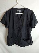 Greys Anatomy Mock Wrap Scrub Top Black Nursing Medical 4153 Womens Size XL