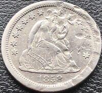 1858 S Seated Liberty Dime 10c RARE DATE San Francisco AU Details #15064