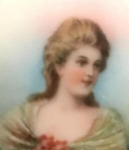 Antique Vintage Porcelain Portrait Brooch Pin Hand Painted C Clasp RARE Beauty