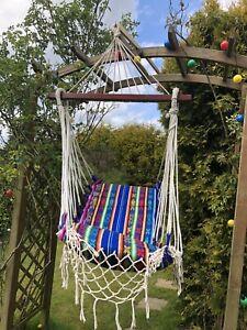 Hammock Swinging Chair Macrame Garden House Portable Boho Hippy Festival Camper