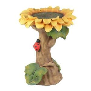 1 Pc Polyresin Sunflower Bird Bath Handmade Resin Art Outdoor Garden Home D F6X8