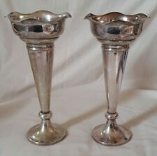 More details for pair of antique silver plate trumpet vases 9