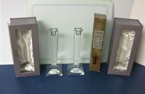 Oleg Cassini Crystal Glass Candle Holder Clear and Signed  X 2.....New  in Boxes