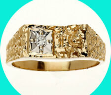 Mens .10CT diamond 14K YG nugget ring solitaire round brilliant 6.1 GM sz 11