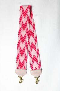 Salt Knit Chevron Print Leather Accent Shoulder Strap Pink Gold