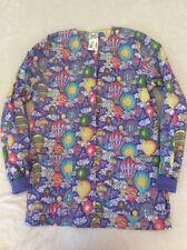 Cottonality Scrub Jacket Xs Womens Hot Air Balloons Colorful Nurse Nwt