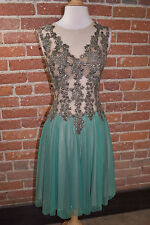 REVE BY KHUSHALI WOMENS SEA GREEN MINI BALLERINA EVENING DRESS WITH SEQUIN SMALL