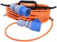 10m Caravan Camping Hook Up Cable 16A Site Extension Lead Orange + Cable Reel