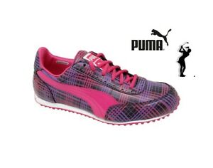 Womens Ladies Spiked Puma Golf Cat Black/Pink Trainers Shoes Golf Shoes Size