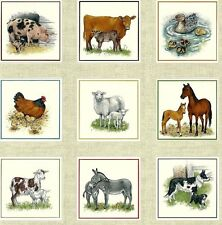 "12"" x 44"" Panel - 33 Blocks Farm Animals SHEEP GOAT DUCK DONKEY Andover Fabric"