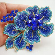 """3.62"""" Vintage Retro Flower Leaf Gold-tone Brooch Pin Blue Rhinestone Crystal"""