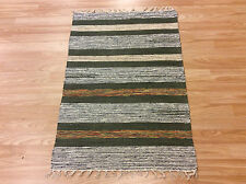 Striped Blue Green Handloomed 100% Cotton Rag RUG Durrie Mat 60x90cm 2x3 50%OFF