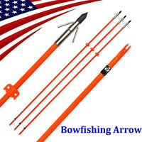 "6X 32"" Bow Fishing Arrow Fiberglass Solid Arrows Bowfishing with Tip Broadhead"