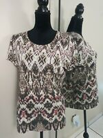 Zenergy by Chicos Size 2 Blouse Shirt Top Womens size 12 Large